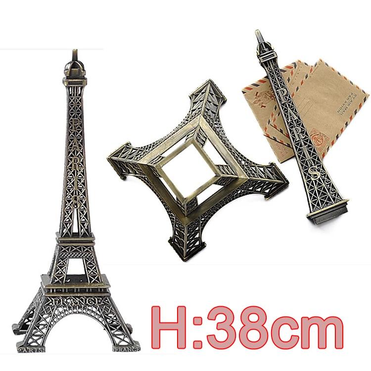 Large Size 38cm Height Bronze Tone Paris Eiffel Tower Figurine Statue Antique French Vintage Metal Craft Model Separation Design