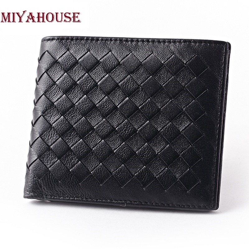 цена на New Arrival Brand Weave Men Wallets Fashion Male Clutch Wallet Genuine Leather Men Long Purses Card Holder Purses Men Coin Purse