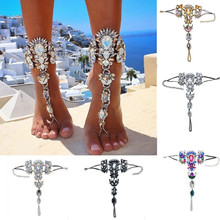 2017 One Pcs Long Beach Summer Vacation Ankle Bracelet Sandal Sexy Leg Chain Female Boho Crystal Anklet Statement Jewelry