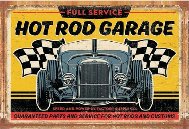 Full service hot rod garage! metal signs vintage tin plate iron painting wall decoration for : antique tin plates - pezcame.com