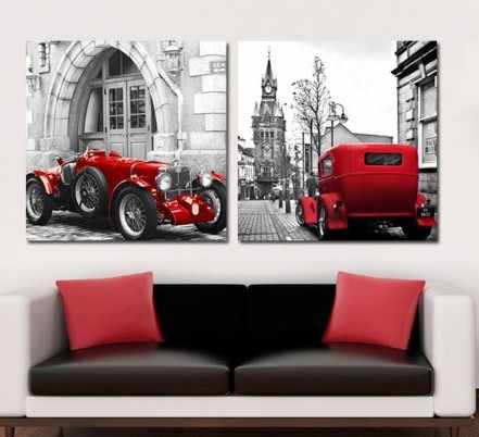 2 Panel Modern Printed Car Painting Cuadros Decoracion City Building Town Painting Wall Pictures For Living Room No Frame PR071