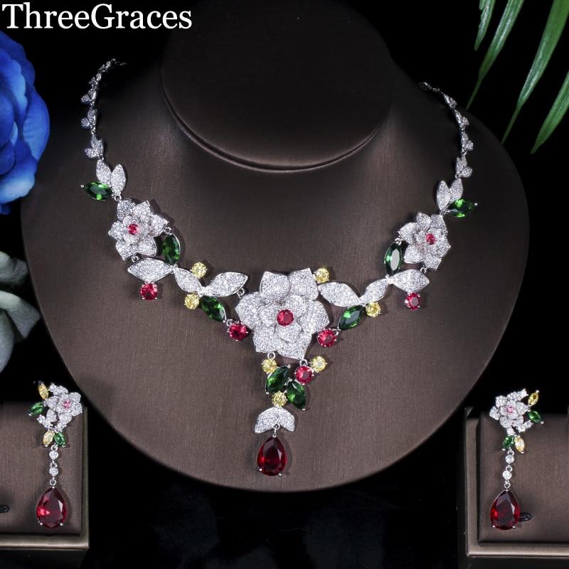 Ensembles de bijoux de luxe en forme de fleur en forme de fleur multicolore cubique zircone nuptiale africaine de mariage JS080