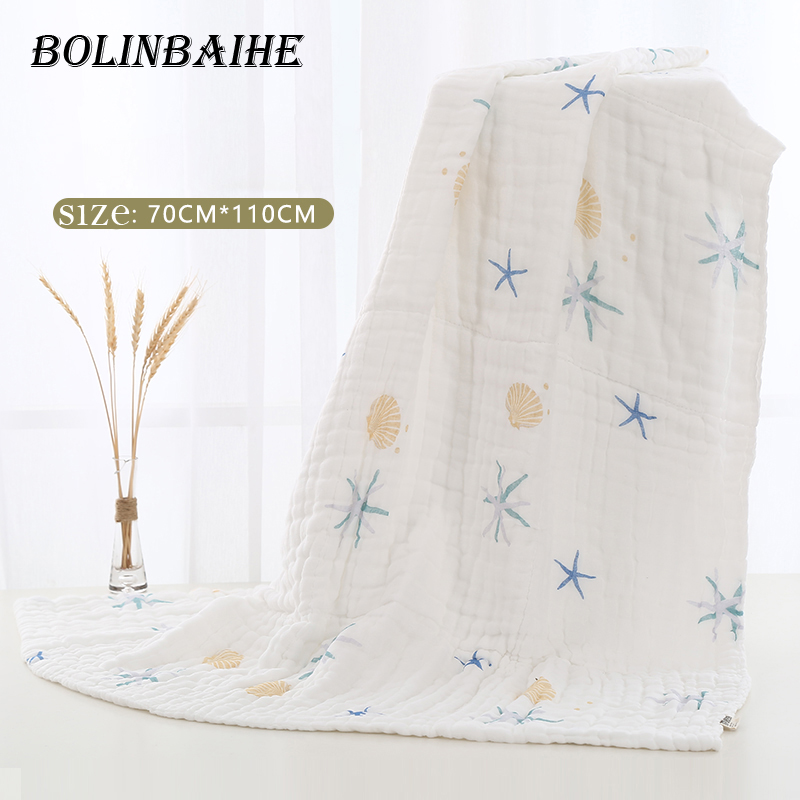 1 Pcs Baby Towel 110*70cm 6 Layers Cotton Bamboo Children blanket Soft toallas Baby Bath Towel For Newborns musselin decke L007
