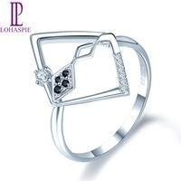 Натуральный бриллиант ювелирные изделия 750 золото обручальное кольцо Твердые 18 к белый черный бриллиант ювелирные изделия для женщин Lohaspie