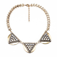Crystal Triangle Gold Alloy Semicircle Pendants Necklace Female Antique Gold Color Statement Necklace Indian Jewelry