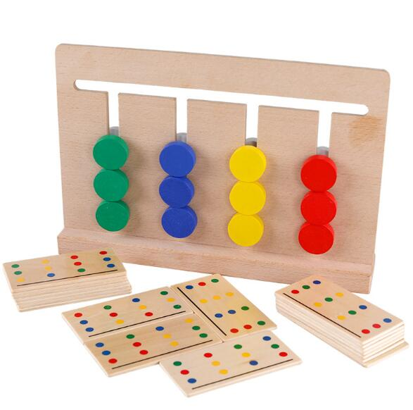 Toy montessori materials Four Colors Game Color Matching for Early Childhood Education Preschool Training Learning Toys montessori education wooden toys four color game color matching early child kids education learning toys building blocks