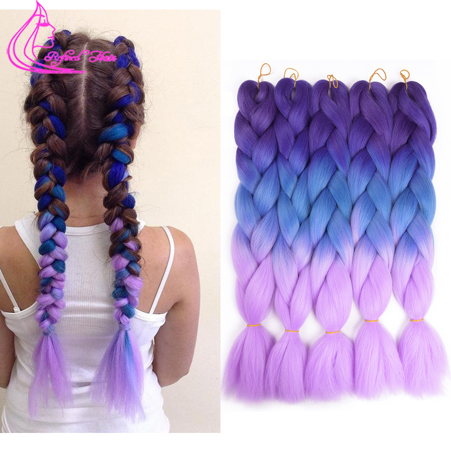 Jumbo Braids Spring Sunshine Kanekalon Hair Crochet Braids Ombre Jumbo Braiding Synthetic Hair Extension For Women 24 Inch Pink Blue Purple Hair Braids