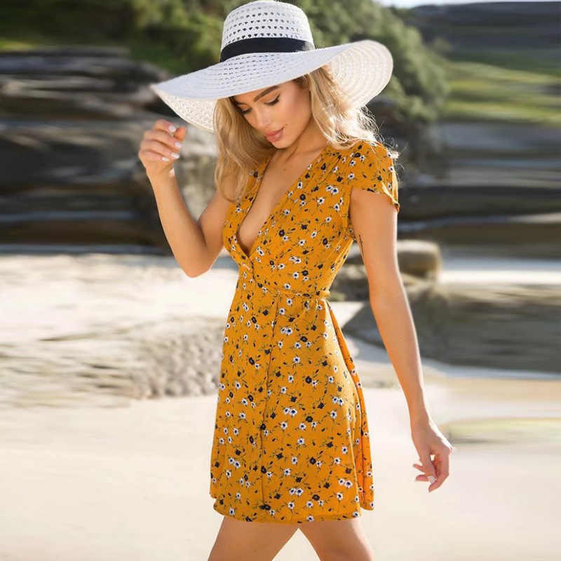 שמלות נשים 2019 חדש סקסי עמוק V מותניים הדפסת מילה AliExpress חם נשים של קצר שרוולים שמלת Vestidos HJY7526