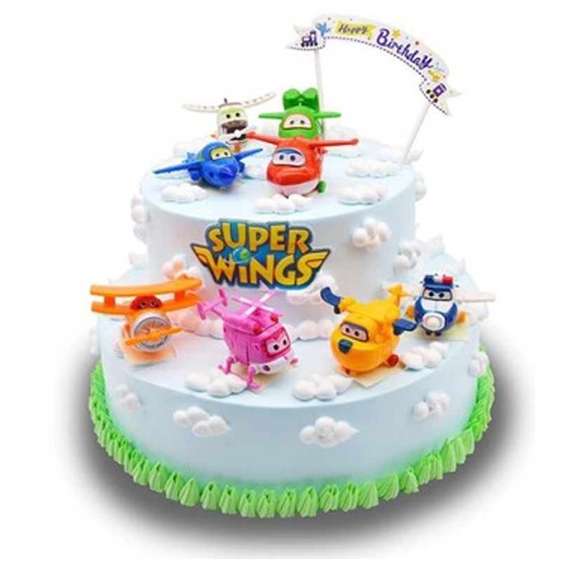 US $4.89 30% OFF|Super Wings PVC Doll Toy Cake Topper Kids Birthday Gift Toys Kid Party Cake Decoration-in Cake Decorating Supplies from Home & Garden ...