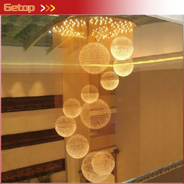 Best Price Deluxe Villa Double Staircase K9 Crystal Hall Lights LED Spherical Hotel Long Chandelier Lobby Engineering Lights best price modern led spherical k9 crystal lamp duplex stairs luxury villa round ball crystal pendant lights project lights