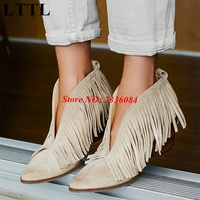Beige Front V Open Women Pointed Toe Ankle Boots Square High Heel Slip On Women Fringed