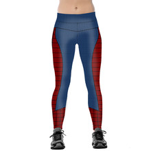 Unisex Spider Man Thematic Fitness Leggings Elastic Fiber Hiphop Party Cheerleader Rooter Workout Pants Trousers