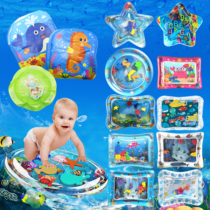Купить с кэшбэком Summer Creative Dual Use Toy Baby Inflatable Patted Pad Baby Training Water Cushion Kids Prostrate Mat Growth Toys Non-toxic