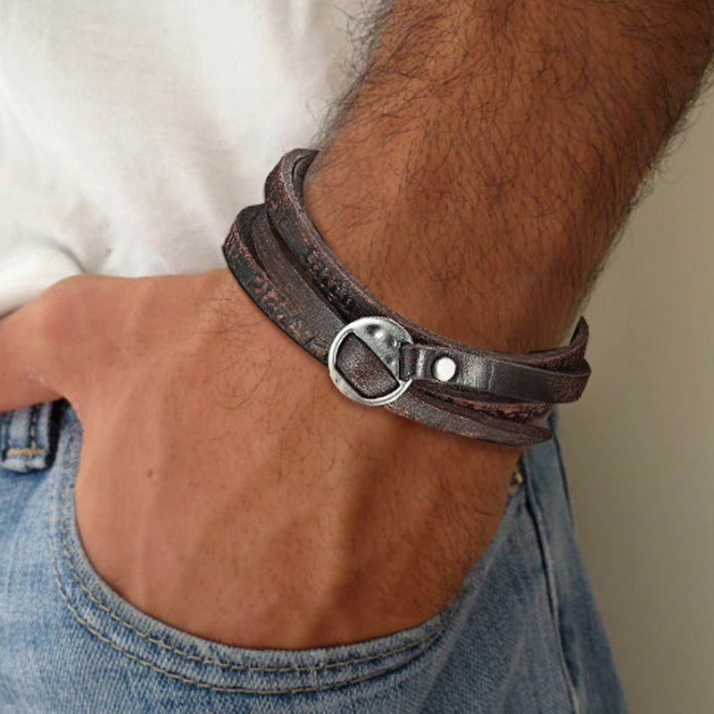 Simple and Beautiful Men Leather Wrap Bracelet in Dark Brown Present Gift For Dad Husband Boyfriend Male Jewelry