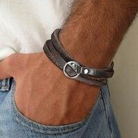 Pulsera de cuero Simple y bonita para hombre, brazalete en marrón oscuro, regalo para padre, novio