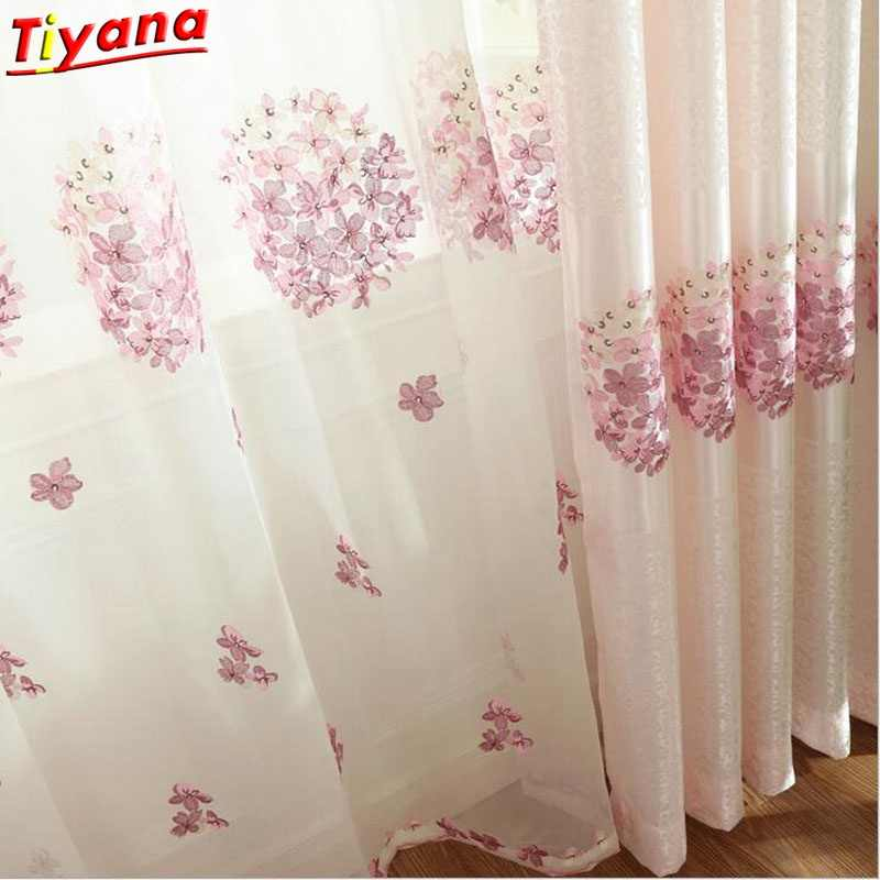 Embroidery Screen Romantic Pink Cherry Blossom bedroom Window Voile Tulle Curtains Sheer living room Hot sale 2017 NEW WP388 *30