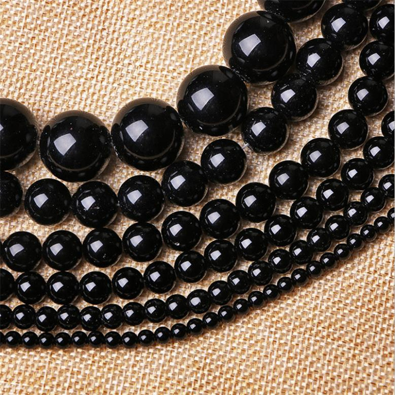 Pick size <font><b>4</b></font> <font><b>6</b></font> 8 10 <font><b>12</b></font> 14mm Smooth Round Black Agata Onyx loose stone jewelry Beads Free Shipping image