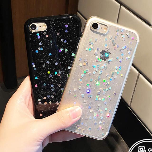 the best attitude e034f 2a0cb US $2.65 |Heart Black Clear Glitter Phone Case Cover for iPhone 7 7Plus  Glitter Case for iPhone 6 6s 6plus 6splus Case Soft TPU Capa Coque-in ...