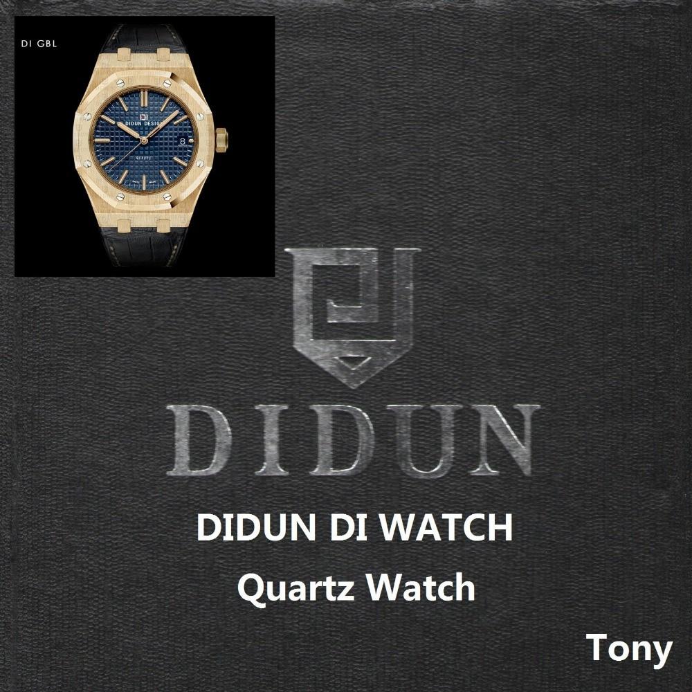 DIDUN Для мужчин часы лучший бренд Роскошные Кварцевые часы золото мужской моды Бизнес часы кожаный ремешок 30 м Водонепроницаемый наручные ча...