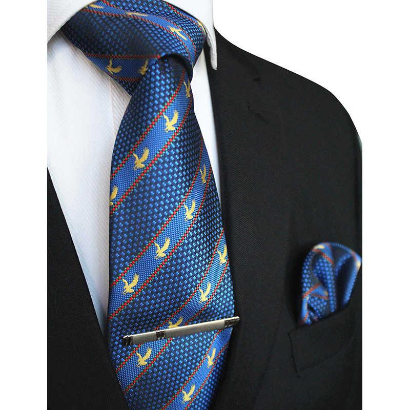 JEMYGINS оригинальный бренд Орел галстук с логотипом 8 см шелковый галстук карман квадратная игла зажим-клипса подарочный набор для мужчин Галстук Свадебная вечеринка