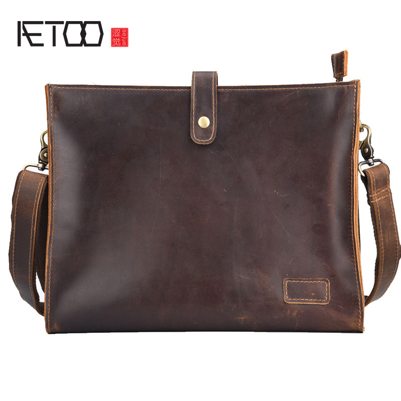 AETOO New mad horse skin retro shoulder bag men leather Messenger file briefcase business cowhide men bag aetoo europe and the united states fashion new men s leather briefcase casual business mad horse leather handbags shoulder