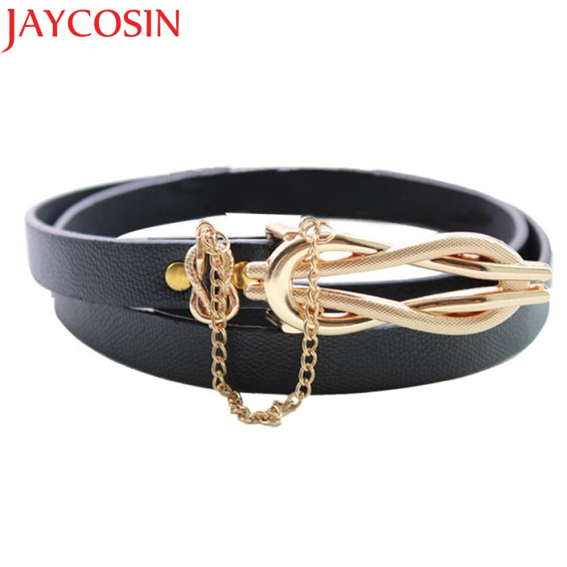 Hot Marking 1pc New! Simple Belt Slim Ultra-thin Leather Women's Belt with chain Belt WJul21 Drop Shipping