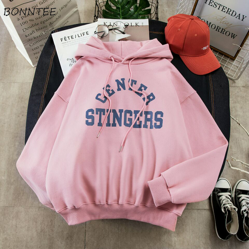 Hoodies Women Large Size Leisure Letter Printed Long Sleeve Hooded Womens Pullover Soft Cotton Korean Style