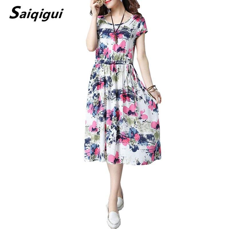 Saiqigui  Summer Dress New Short sleeve women dress casual loose cotton Linen dress Print O-Neck vestidos mujer dress