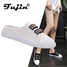 Fujin Brand Women Canvas Shoes Lace-up Casual Shoes Flat Shoes Height Increasing Summer Sneakers Woman Loafers Slippers
