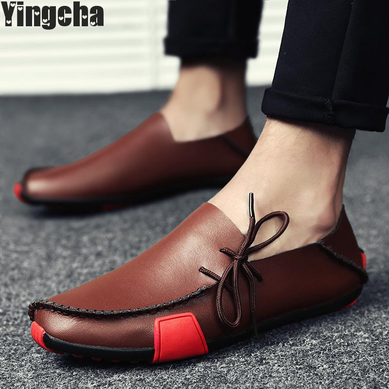 2018 Autumn Winter Men Shoes Casual Male Adult Genuine Leather Brand Walking Driver Quality Footwear Man vesonal 2017 quality mocassin male brand genuine leather casual shoes men loafers breathable ons soft walking boat man footwear