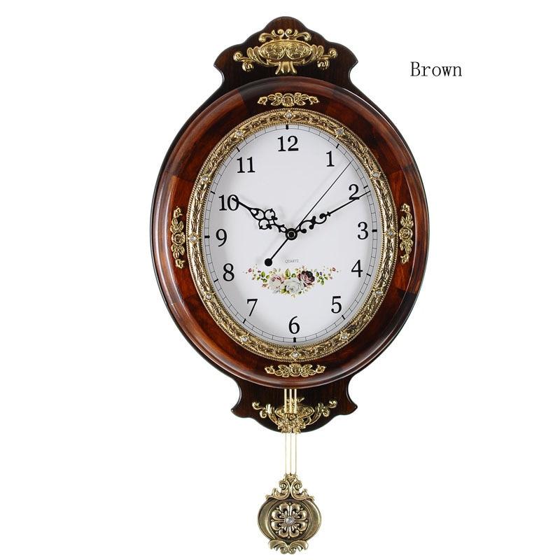 Ouyun european large wall clock modern design wooden vintage wall clock pendulum mute clock safe - Contemporary pendulum wall clock ...