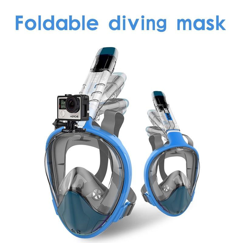 2018 nouveau haute qualité de face tuba masque masque de natation anti-brouillard clair pliage plongée masque