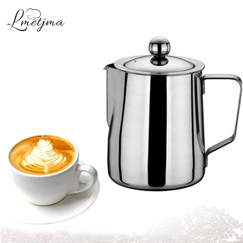 LMETJMA Adjustable Milk Frothing Jug with Coffee Filter Stainless Steel Coffee Frothing Jug 350ML 600ML KCBII011607