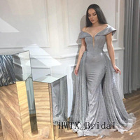 2019 Pearls Mermaid Evening Dress Detachable Skirt Silver Gray Off Shoulder Caftan Two Piece Long Prom Gowns Robe de soiree