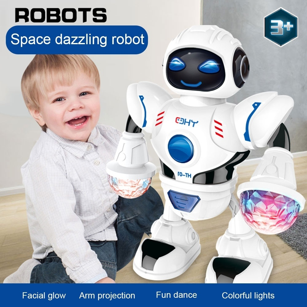 Space Dazzling Music Robot Shiny Educational Toys Electronic Walking Dancing Smart Space Robot Kids Music Robot Toys
