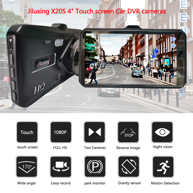 Image 2 - Jiluxing X20S 1080P 4 Inch Touch car DVR Dual Lens car cameras Dash Cam Auto Digital Video Recorder Registrator Loop video-in DVR/Dash Camera from Automobiles & Motorcycles