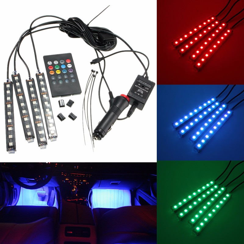 4 in 1 9 led multi multi color car auto neon neon light atmosphere wireless remote control. Black Bedroom Furniture Sets. Home Design Ideas