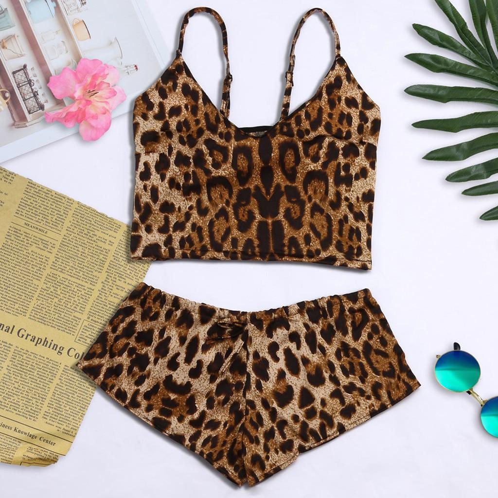 S-3XL Size Women's Sleepwear Sexy Pajama Set Leopard Print V-Neck Pyjamas Sleeveless Cami And Short 2019 Short Pijama Mujer