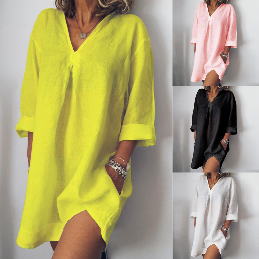 Women Loose Dresses Casual Pure Color V Neck Long Sleeved Summer Womens Dress #30
