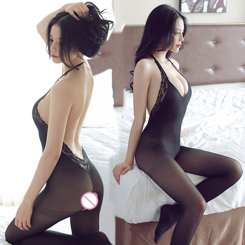 Sexy Erotic Lingerie Women Backless Llace Bodystockings Open Crotch Sheer Tights Halter Low Cut Back Hollow Bodysuit Stockings