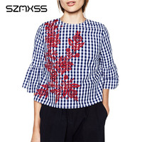Women Blouses 2017 New Spring Fashion Women Floral Embroidery Plaid Blouse Flare Sleeve Loose Shirts Fashion
