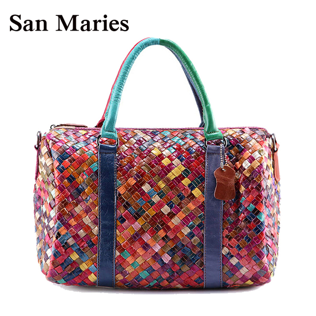 192f789c85 Wholesale NEW Wax Cowhide Handmade Woven Messenger Bags Woman Genuine Leather  Handbag Women s Patchwork Tote Bags