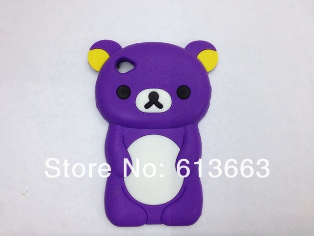Wholesales!10pcs/lot Free shipping Rilakkuma Bear Cute 3D Movable Flip silicon Case Skin Cover for ipod touch 4