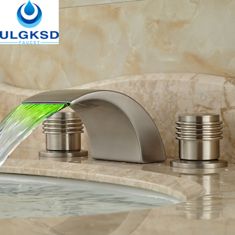 Ulgksd Promotion Brushed Nickle Basin Faucet With LED Color Changing Waterfall Bathroom Hot and Cold Mixter Taps Deck Mounted pastoralism and agriculture pennar basin india