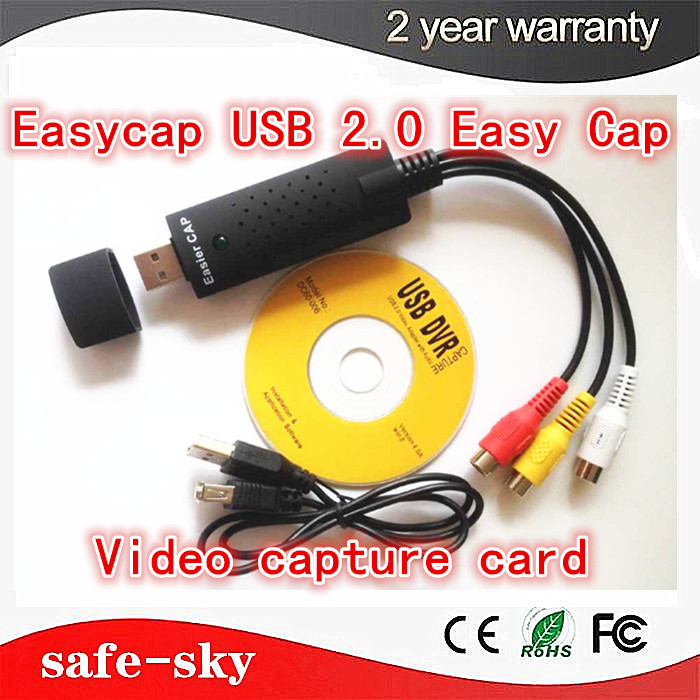 Free Shipping Easycap USB 2.0 Easy Cap TV DVD VHS DVR Video Capture Adapter USB Video Capture Device MINI 1CH DVR Card new usb 2 0 video capture adapter with audio tv dvd vhs captura de v deo card audio av for computer cctv camera usb easycap dc60