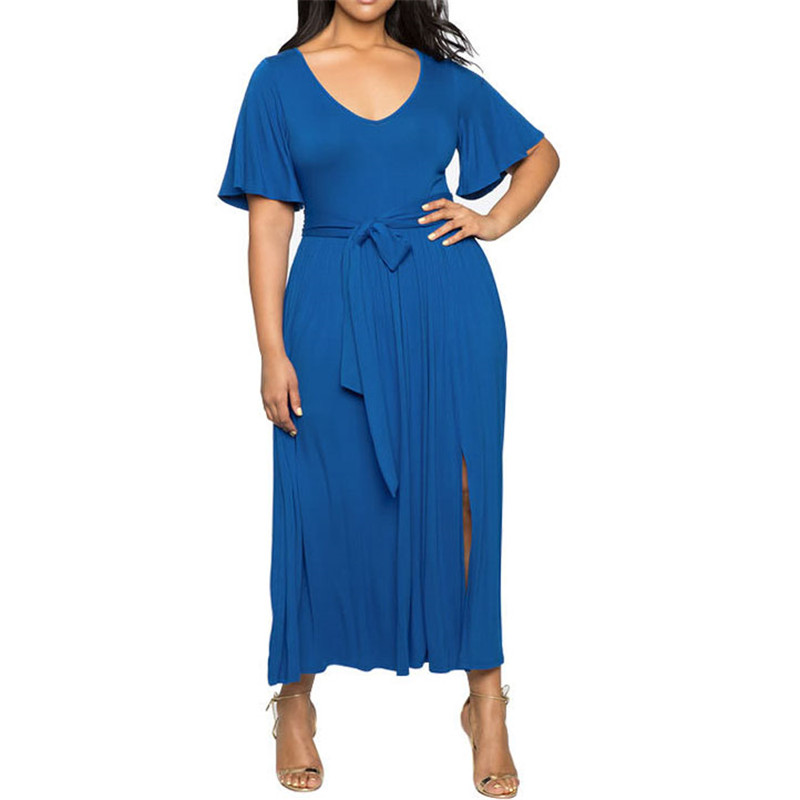 L-4XL плюс Размеры платье 2019 Для женщин летние платье-оверсайз свободные Повседневное деловая модельная одежда Flare большие Размеры пояса Рабо...