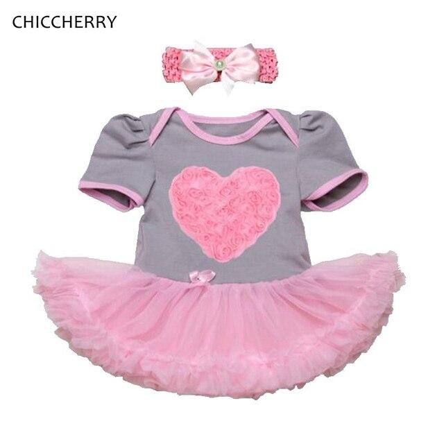 3D Сердце Девочка валентина Наряды Роза Детские Кружева Ползунки Dress Повязка Свадьба Пачки Vestido Де Bebe Новорожденных одежда