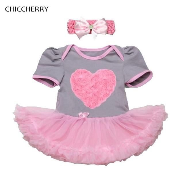 3d corazón trajes rosa del cordón del bebé del mameluco dress baby girl valentine diadema wedding party tutus vestido de bebe recién nacido ropa