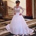 Белый Свадебные Платья 2017 Новая Мода С Длинным Рукавом О-Образным Вырезом линия Романтический Элегантный Кружева Свадебные платья Vestido де Noiva