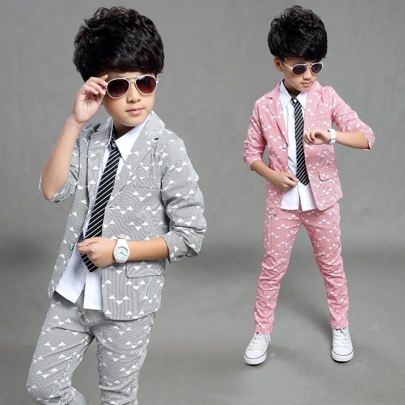 e1de86ddf 2018 Spring Autumn Gentleman Suit Jackets+Pants Baby Boys Clothes For Kids  Designer Childrens Clothing Set 2pcs/set